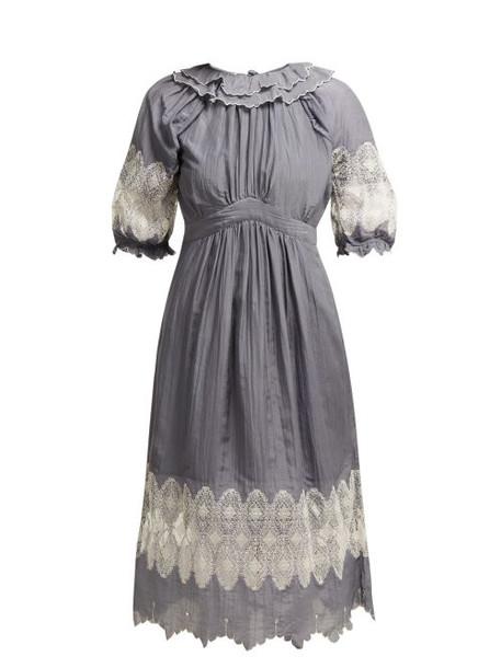 Thierry Colson - Daria Cotton Blend Dress - Womens - Grey White