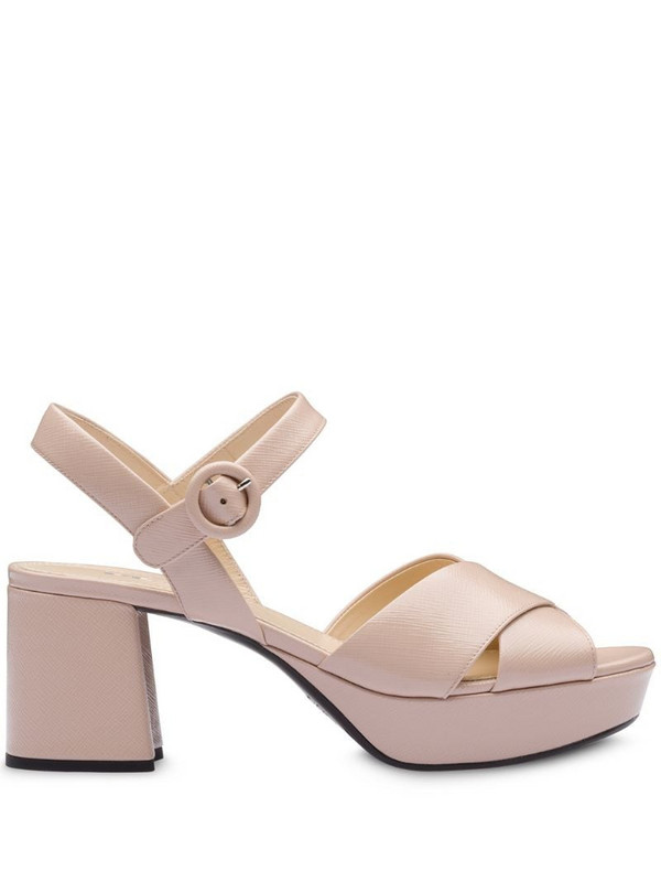 Prada crossover strappy sandals in pink