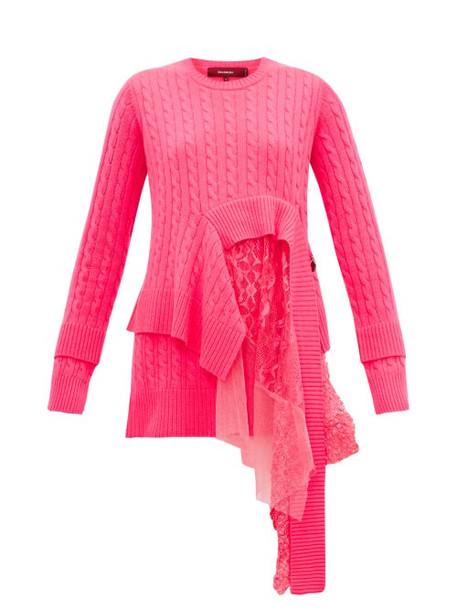 Sies Marjan - Trine Layered Wool Blend Sweater - Womens - Fuchsia