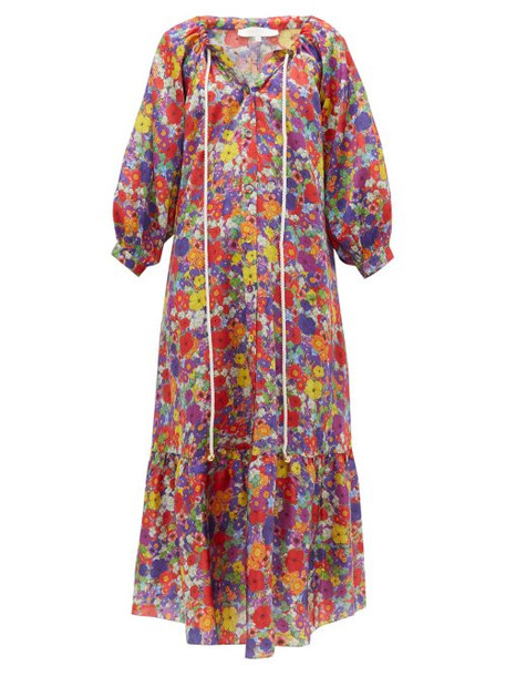 Borgo De Nor - Natalia Floral Print Silk Blend Midi Dress - Womens - Multi