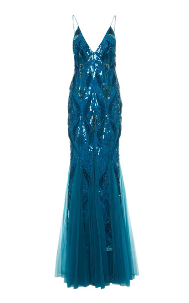 Alberta Ferretti Cascade Embellished Tulle Gown in blue