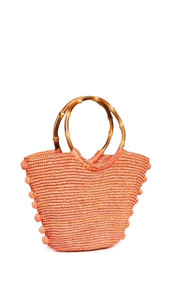 Sensi Studio Toquilla Straw Bag in coral