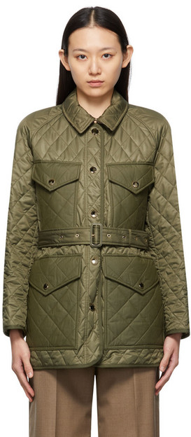 Burberry Khaki Diamond Quilted Field Jacket in green