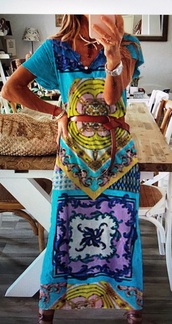 dress,turquoise,boho dress