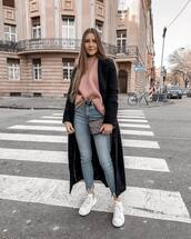 jeans,cropped jeans,high waisted jeans,skinny jeans,white sneakers,black coat,long coat,pink sweater,belt