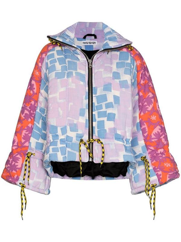 Rave Review Liz patchwork-design puffer jacket in blue