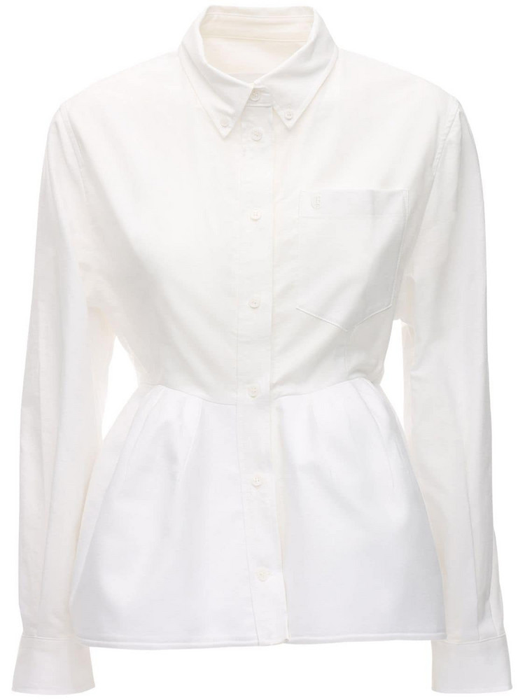 PUSHBUTTON Structured Cotton Shirt in white