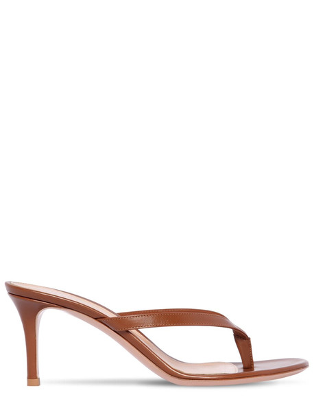 GIANVITO ROSSI 70mm Leather Thong Sandals in tan