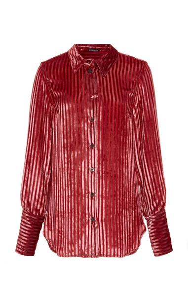 Ann Demeulemeester Striped Velvet Shirt in red