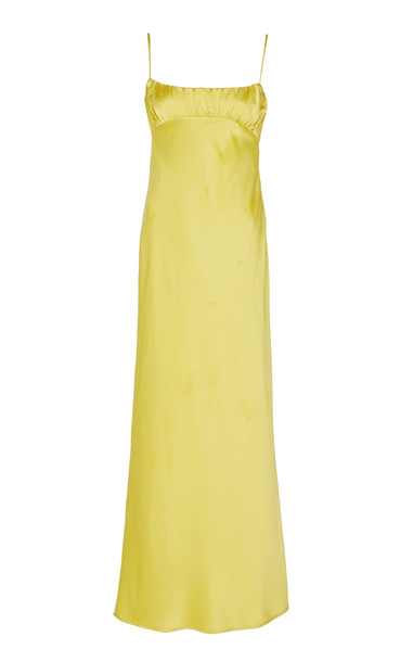 Maggie Marilyn Dressed In Best Satin Maxi Dress Size: 8 in yellow