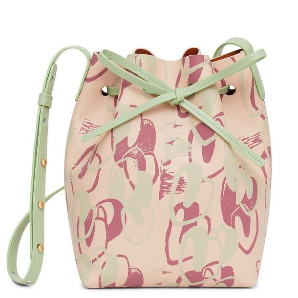 Mansur Gavriel Calf Mini Bucket Bag with Marc Camille Chaimowicz Print - Rosa/Saddle