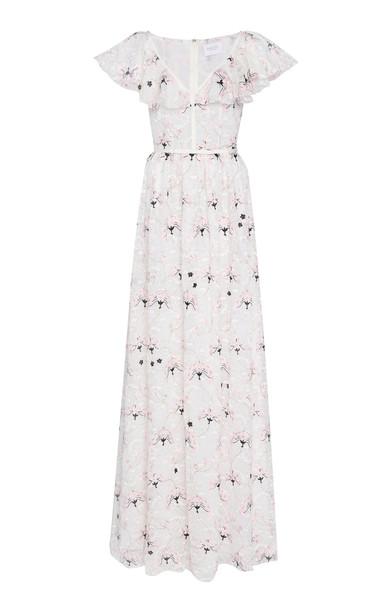Giambattista Valli Floral-Embroidered Lace Maxi Dress Size: 44