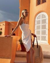 dress,mini dress,sleeveless dress,white dress,lovers + friends,woven bag
