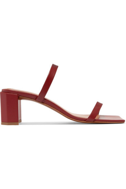 BY FAR - Tanya Leather Mules - Burgundy