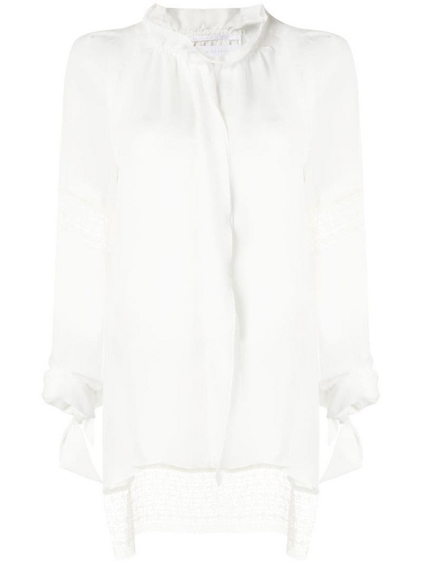 Roland Mouret lace inserts blouse in white