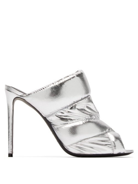 Nicholas Kirkwood - Puffer Metallic Leather Mules - Womens - Silver