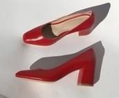 shoes,red,heels,cute,low heels,summer