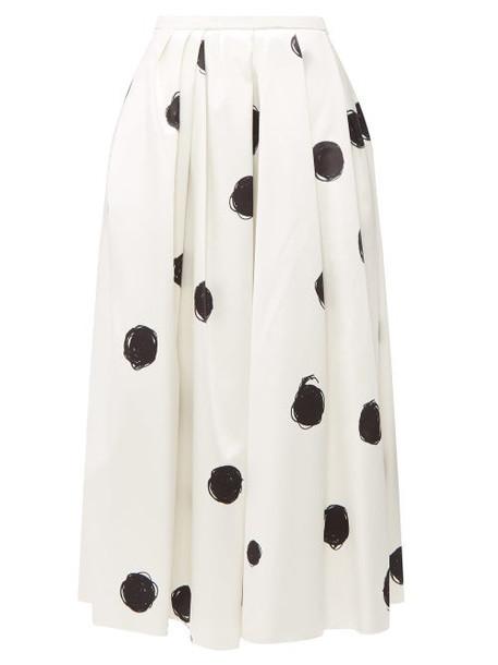 Christopher Kane - Polka Dot Cotton Blend Charmeuse Midi Skirt - Womens - White Black