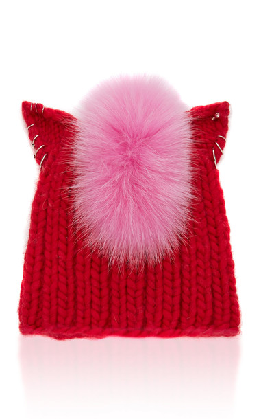 Eugenia Kim Felix Fox Fur-Trimmed Cable-Knit Beanie in red