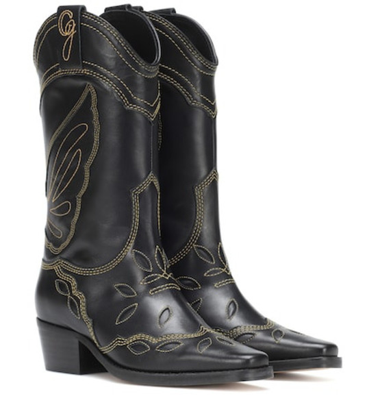 Ganni High Texas leather cowboy boots in black