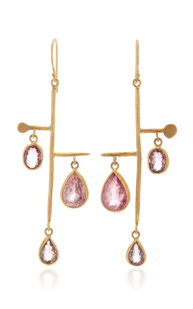 Margery Hirschey Pink Tourmaline Sculpture Earrings