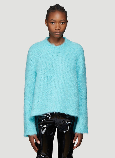 Maison Margiela Bouclé Knit Sweater in Blue size S