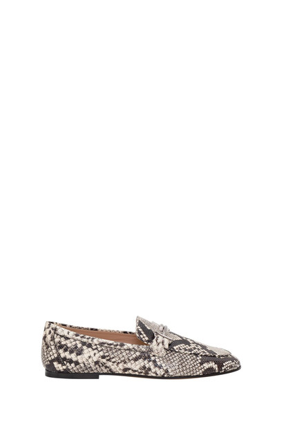 Tods Python Printed Leather Loafers in nero / bianco