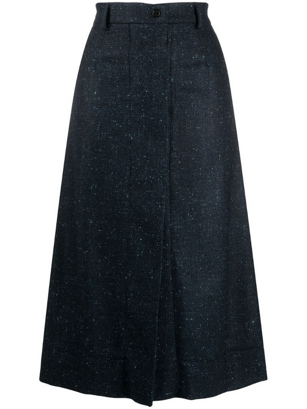 MRZ marle knit A-line skirt in blue