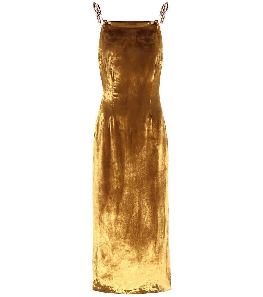Cult Gaia Mina velvet midi dress in gold