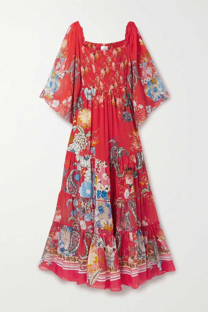CAMILLA - Shirred Tiered Printed Silk-georgette Maxi Dress - medium in red