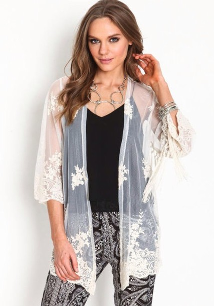 cardigan white cardigan kimono mesh embroidered graduation pants