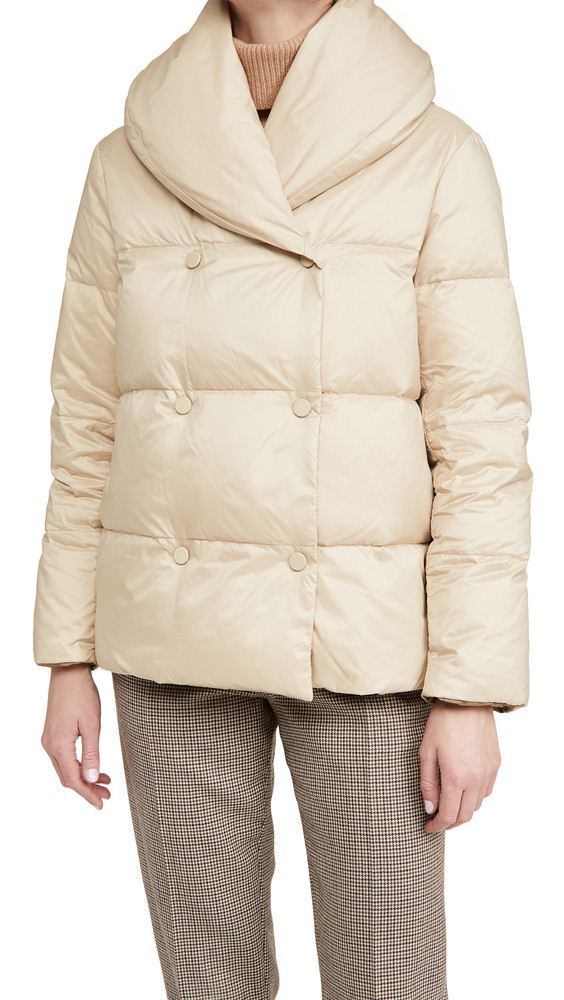 Theory Reversible Shawl Puffer Jacket in camel