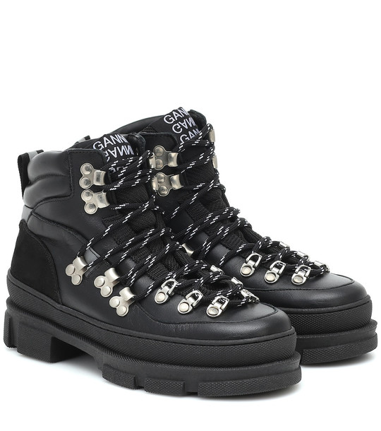 Ganni Sporty Hiking leather ankle boots in black