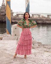 skirt,maxi skirt,layered,floral skirt,platform sandals,wrap top,short sleeve,floral top