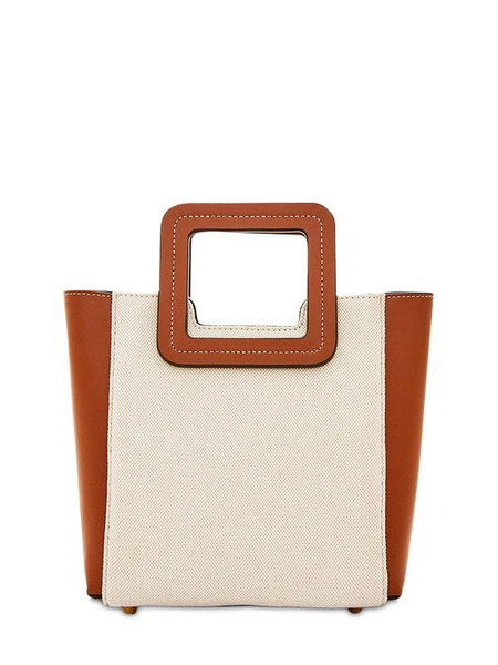 STAUD Mini Shirley Canvas & Leather Tote Bag in brown