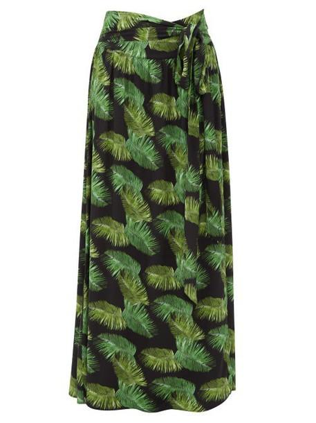Melissa Odabash - Elsa Palm Tree Print Poplin Maxi Skirt - Womens - Black Print