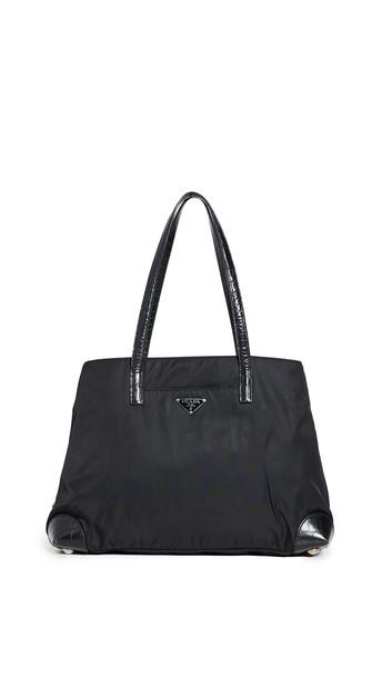 What Goes Around Comes Around Prada Nylon Tote Bag in black