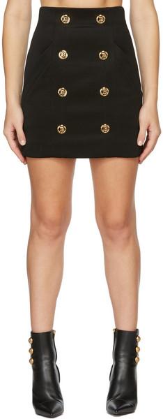 Balmain Black Logo Gold Button Skirt in noir
