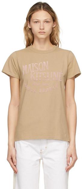 Maison Kitsuné Maison Kitsuné Beige 'Palais Royal' Classic T-Shirt