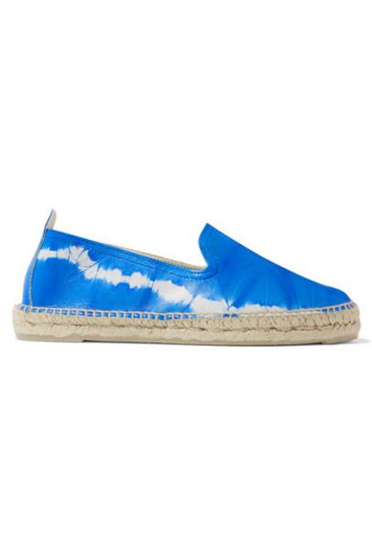 Manebi - Tie-dyed Leather Espadrilles - Blue
