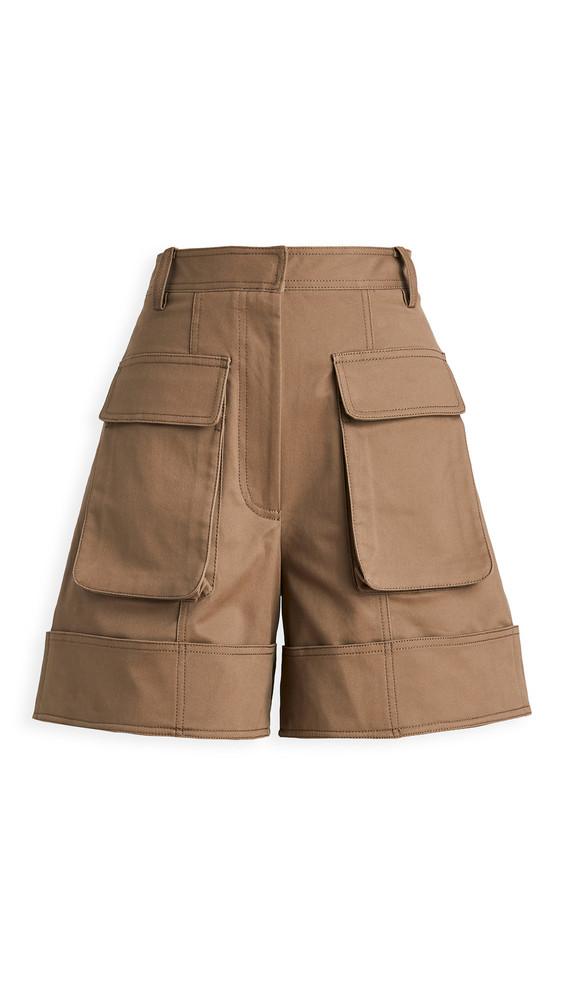 Tibi Cuffed Cargo Shorts in brown