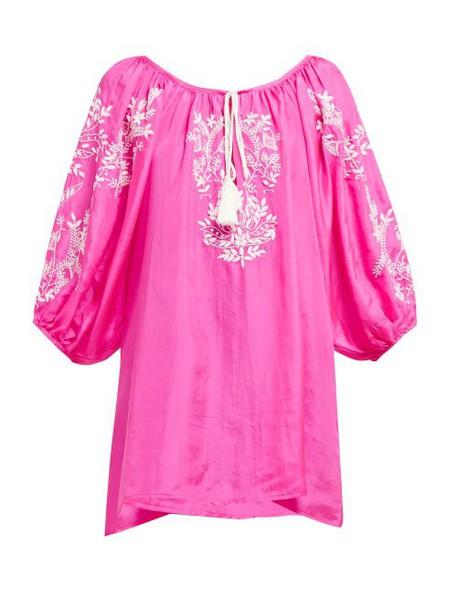 Juliet Dunn - Floral Embroidered Silk Dress - Womens - Dark Pink