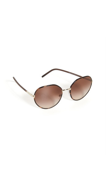 Prada Modern Round Metal Pilot Sunglasses in brown