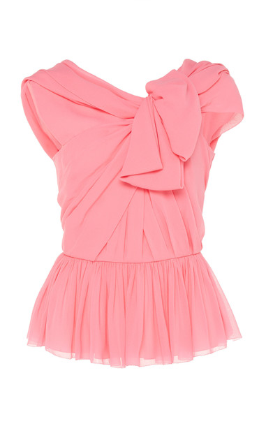 DELPOZO Draped Georgette Peplum Top Size: 34 in pink