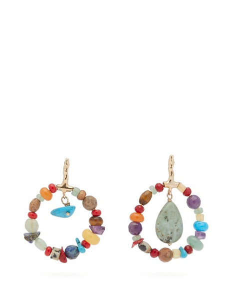 Etro - Beaded Hoop Drop Earrings - Womens - Multi