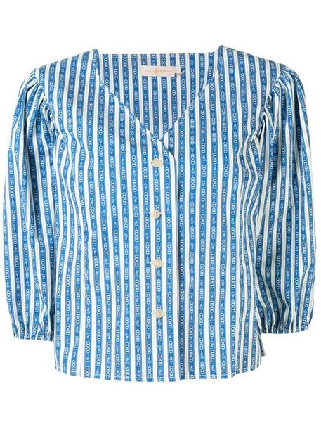 Tory Burch Gemini Link-print cotton shirt in blue