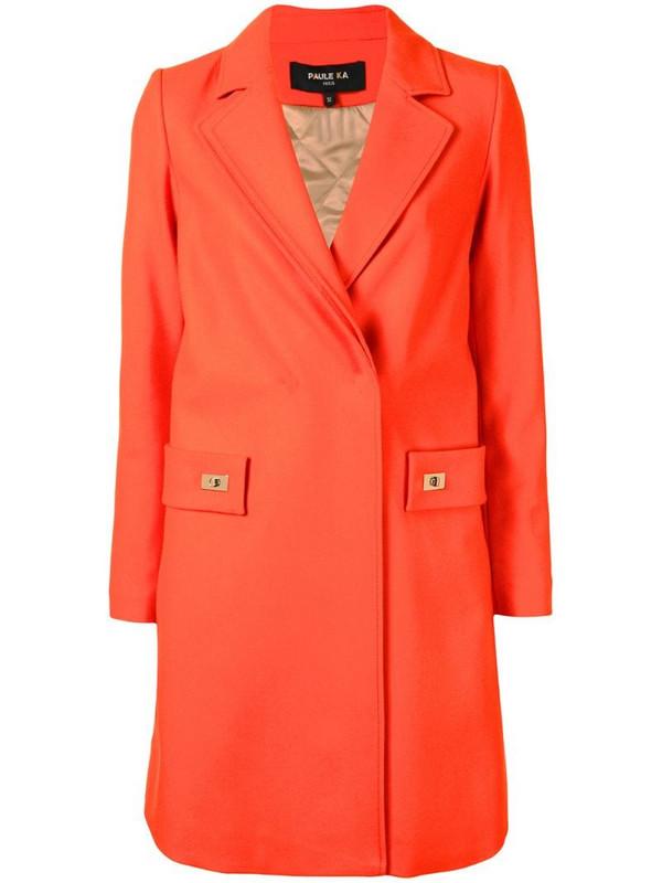 Paule Ka twist-lock detail midi coat in orange