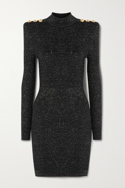 BALMAIN - Button-embellished Metallic Ribbed-knit Turtleneck Mini Dress - Black