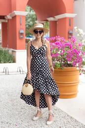 suburban faux-pas,blogger,hat,sunglasses,dress,bag,shoes,polka dots,polka dots dress,spring outfits,wedges