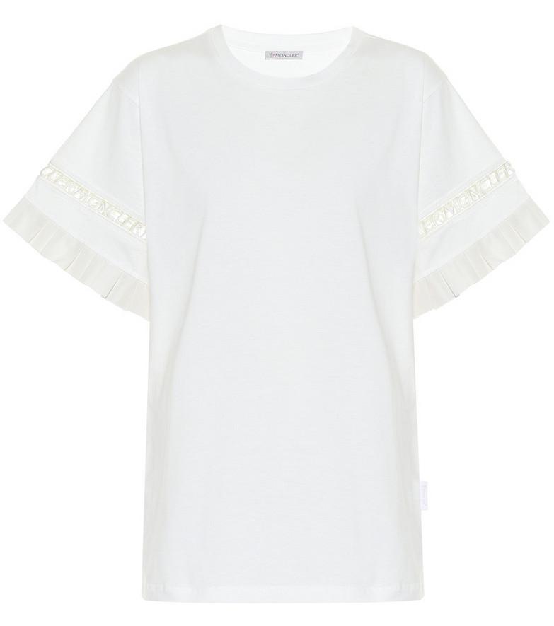 Moncler Ruffled cotton T-shirt in white